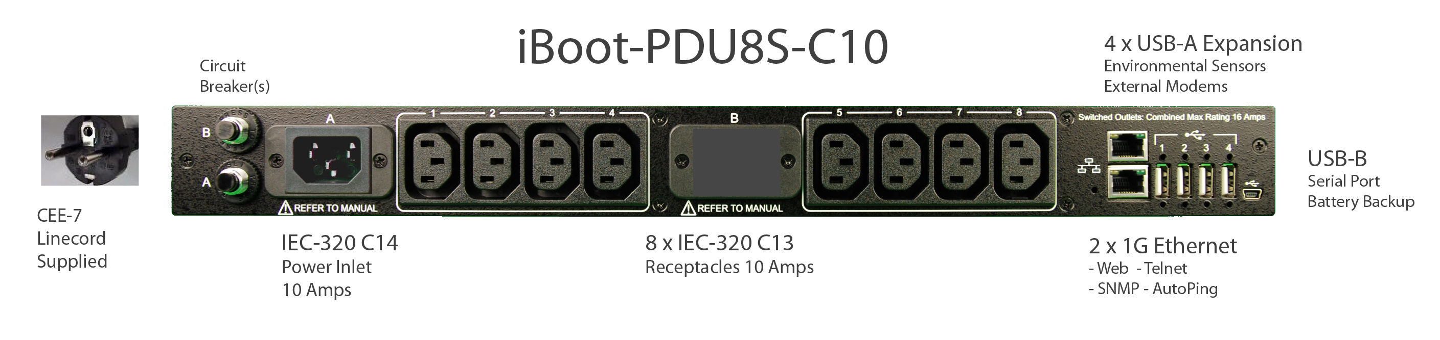 iBoot-PDU8S-C10 for Remote Reboot, 1 x IEC C14 .