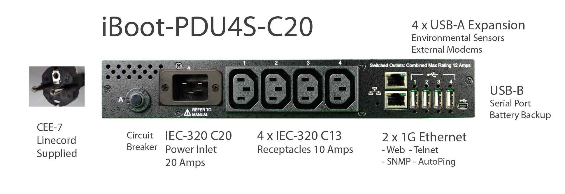 iBoot-PDU4S-C10 for Remote Reboot, 1 x IEC C14 .