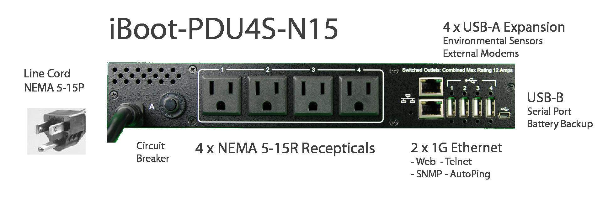 iBoot-PDU4S-N15 for Remote Reboot,1 x NEMA 5-15P.