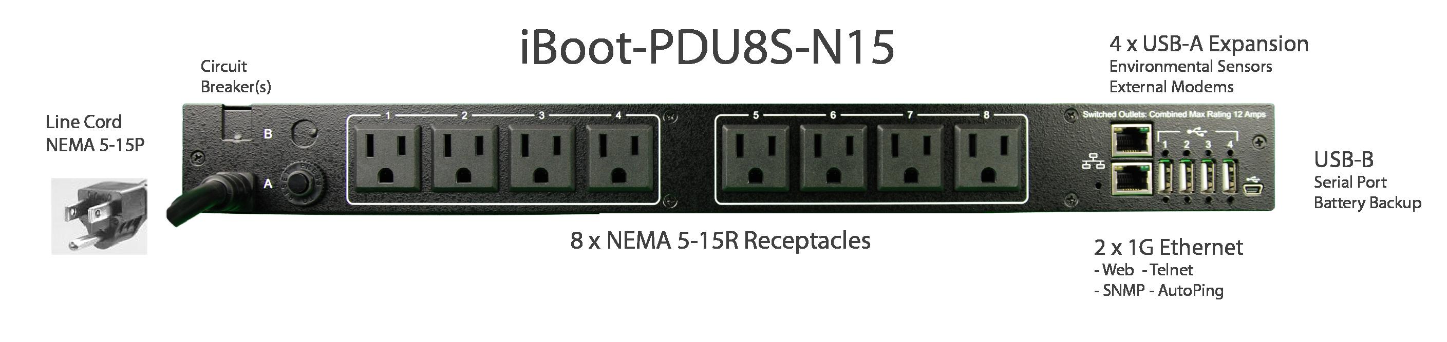 iBoot-PDU8S-N15 for Remote Reboot, 1 x NEMA 5-15P.