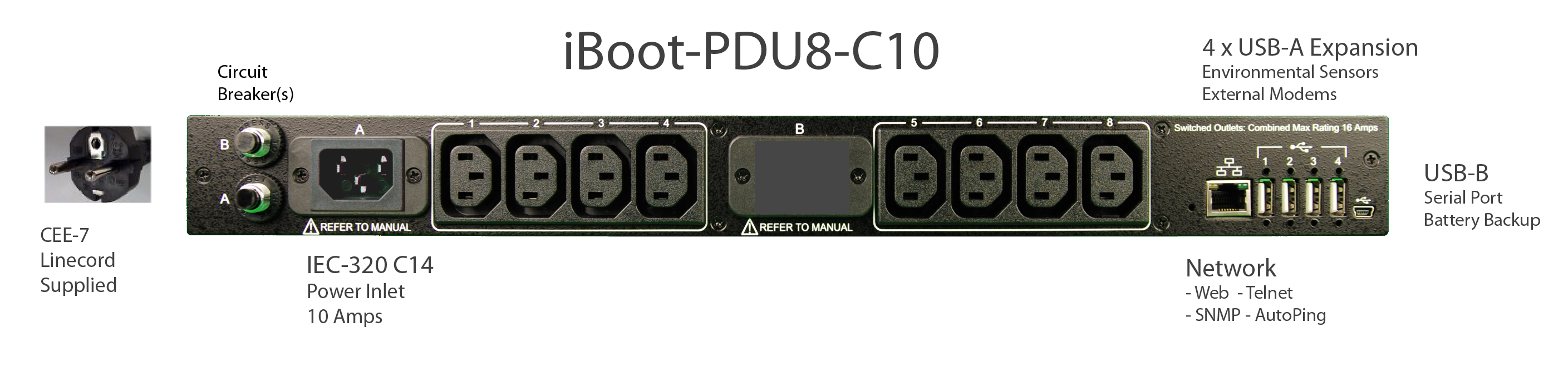 iBoot-PDU8-C10 for Remote Reboot, 1 x IEC C14 .