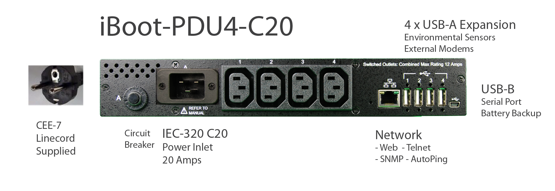iBoot-PDU4-C10 for Remote Reboot, 1 x IEC C14 .