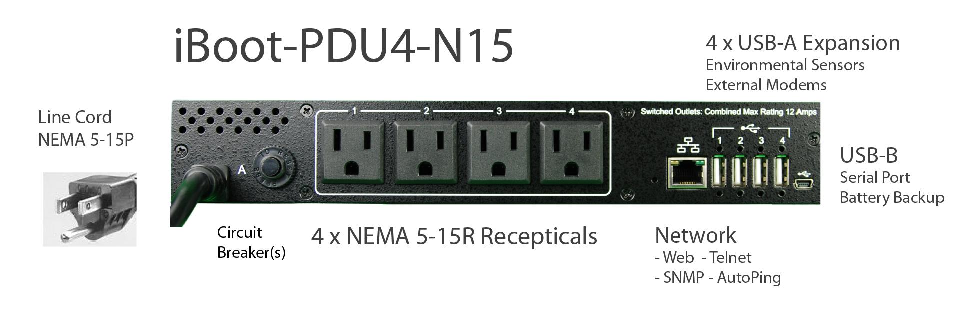 iBoot-PDU4-N15 for Remote Reboot,1 x NEMA 5-15P.