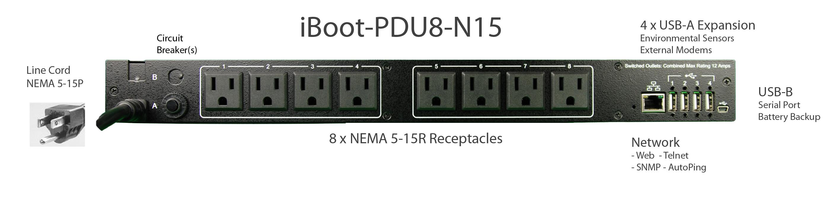 iBoot-PDU8-N15 for Remote Reboot,1 x NEMA 5-15P.