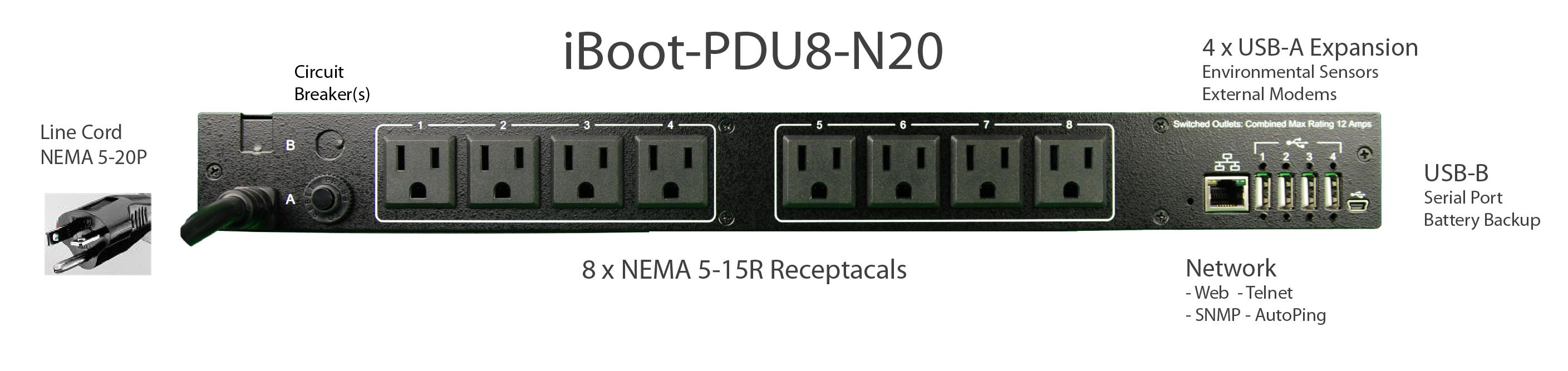 iBoot-PDU8-N20 for Remote Reboot, 1 x NEMA 5-20P.
