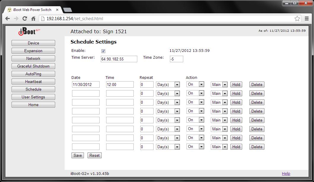 iBoot-G2 Set Schedule Screenshot