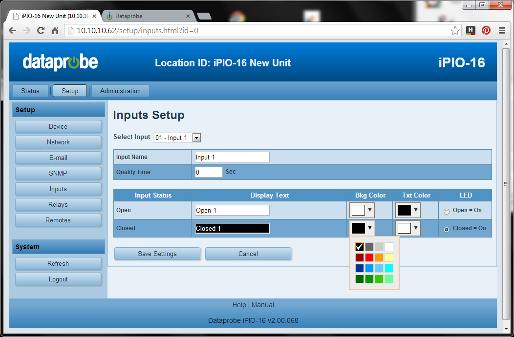 iPIO-16 Screenshot.  Setup for Web Relay Control