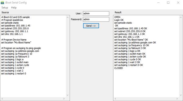 EZSetup screenshot iBoot-G2S and iBoot-G2+ Example