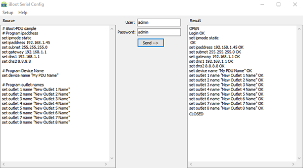 EZSetup screenshot iBoot-PDU Example